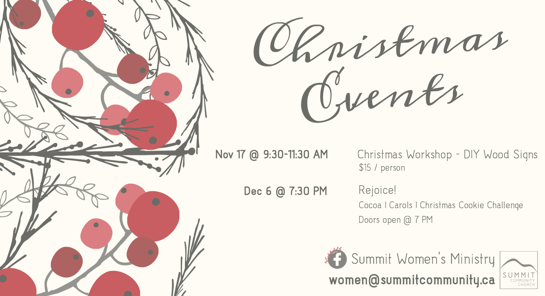 Women's Christmas Events Card 2018